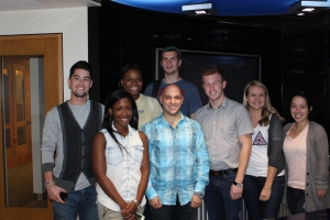 (left to right): Micah Bailey, Nya Thompson, Abby Uzamere, Fabio LoNero, Taylor Popielarz, Stephanie Alwardt, Sarah Faidell  (in rear): Dan Burdick